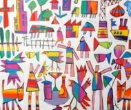 'Afternoon Tea Birds' oil on canvas, 72cm. x 82cm.